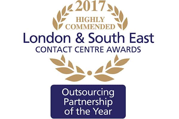London & South East Contact Centre Awards 2017 - Highly Commended